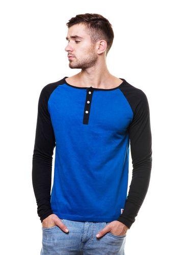 Wide Raglan Contrast Sleeve henley tshirt