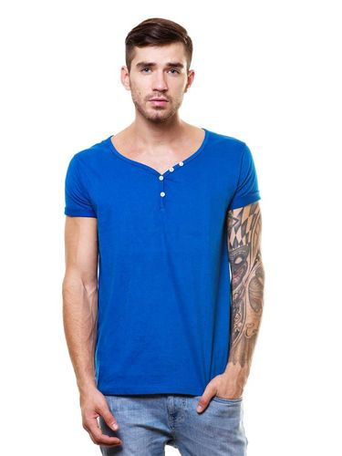Deep V-neck henley tshirt