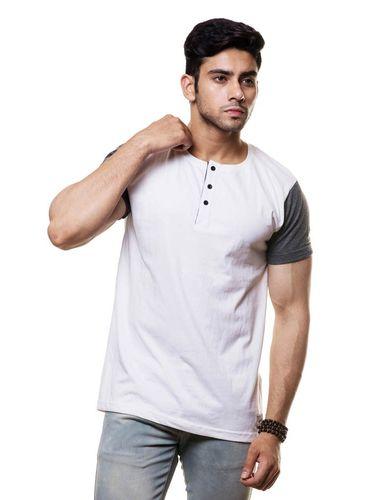 Contrast Sleeve henley tshirt
