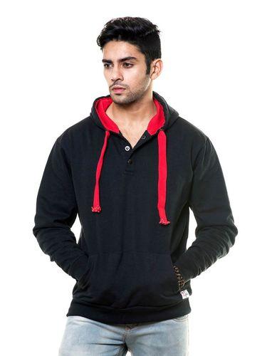 Henley Sweatshirt with Hood