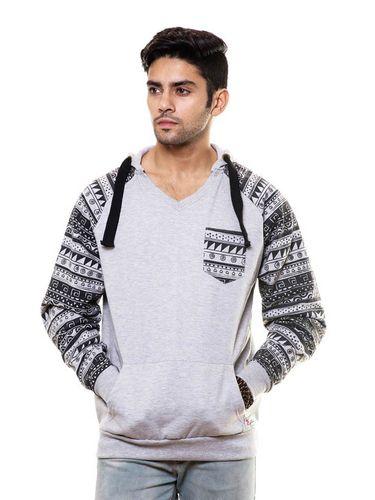 Aztec Printed Sleeve Sweatshirt with Hood & Pocket