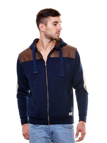 Leather Work Designer Sweatshirt with Hood