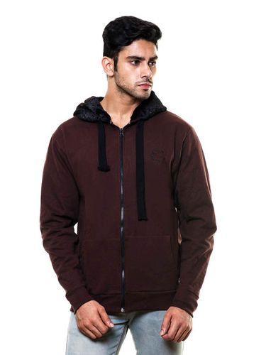 Solid Coffee Sweatshirt with Fur in Hood