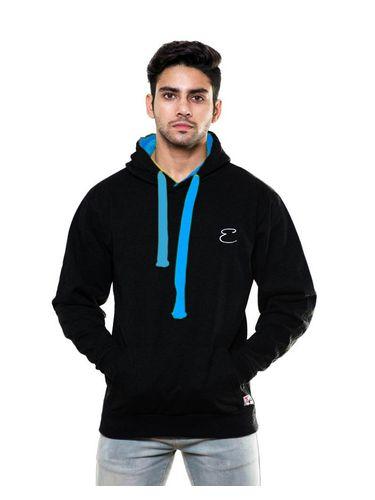 Solid plain Black Sweatshirt with Hood