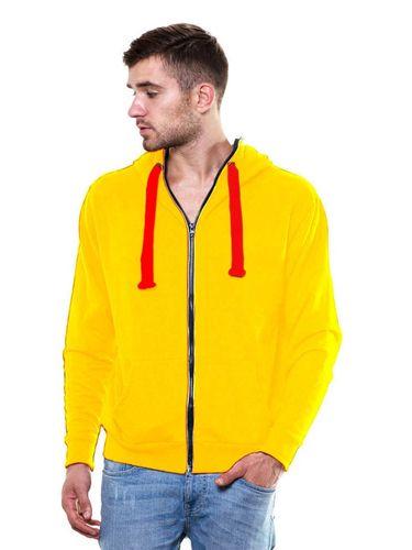 Solid Zipper Yellow Sweatshirt with Hood