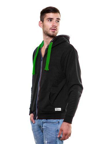 Solid Zipper Black Sweatshirt with Hood