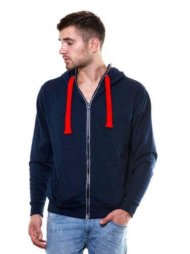 Solid Zipper Navy Blue Sweatshirt with Hood