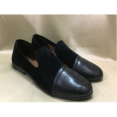 ..A Black Leather & Suede Loafer Shoe