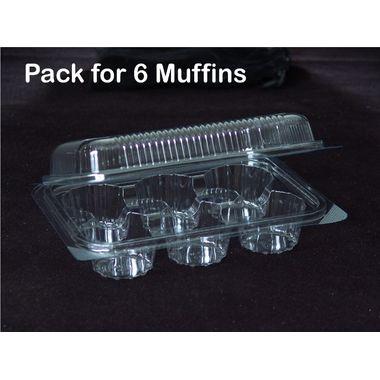 Muffin packaging plastic box - for 6 muffins (Pack of 5)