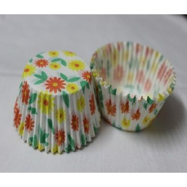 White cup cake with yellow and red flowers (25 pcs)