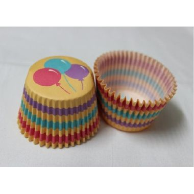 Yellow cup cake with balloon print and tri colour stripes (25 pcs)