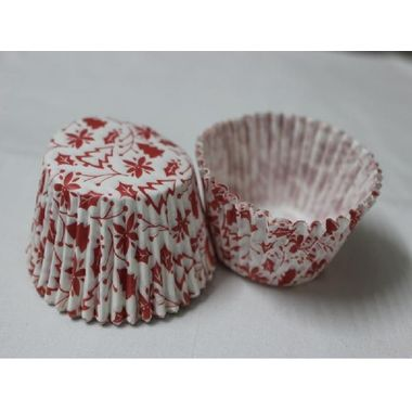 White cup cake with red christmas theme (25 pcs)