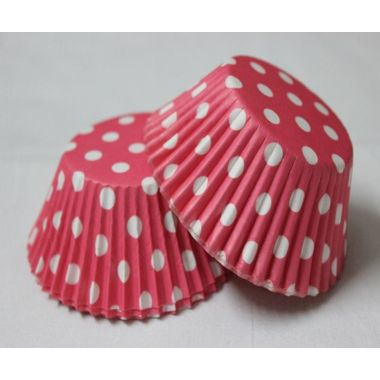 Pink cup cake with polka dots (25 pcs)