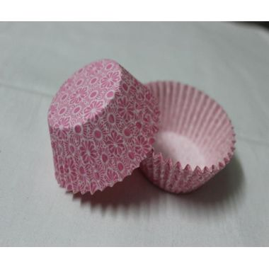 Cup cake with traditional flower design in pink (25 pcs)