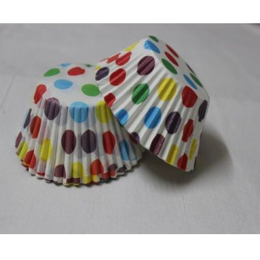 White base cup cake liners with different colour dots (25 pcs)