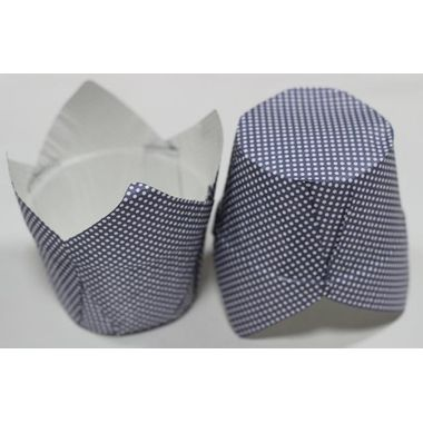 Laminated Tulip blue base cup with white polka dots (7 pcs)