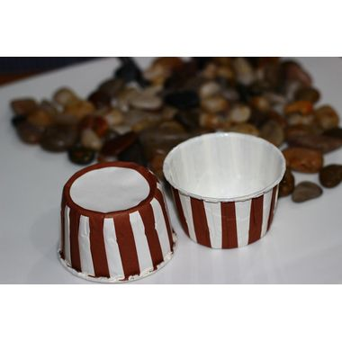 Brown and White Stripes - curl edge cup cake liner (pack of 25)