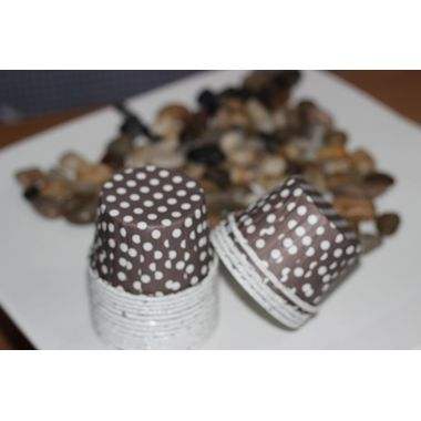 Brown with white polka dots - curl edge cup cake liner (pack of 13)
