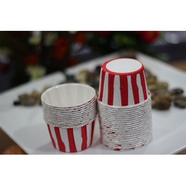 Red and white Stripes - curl edge cup cake liner (25 pcs)