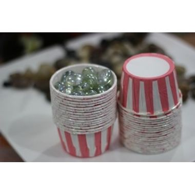 Pink and white Stripes - curl edge cup cake liner (10pcs)