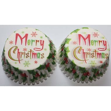 Merry Christmas Red & Green cup cake liner (25 pcs)