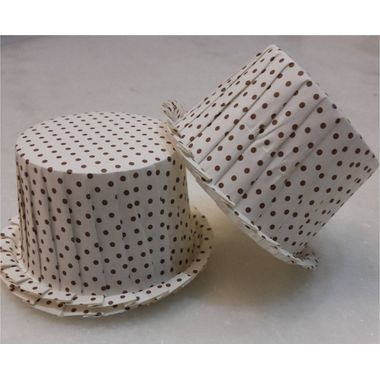 White base with brown dots flower edge cupcake liner  - Medium (pack of 10)