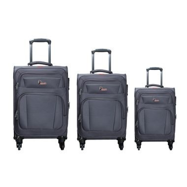 F Gear Cabinet Polyester Set of 3 Grey Soft sided Luggage set