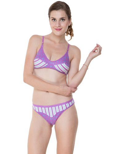Glus Summer Star Everyday Bra & Bikini Panty Set , Color - Purple