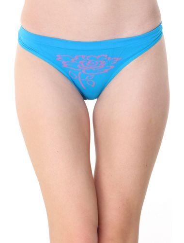 Glus Women's Seamless Floret Thong, Color- Turquoise