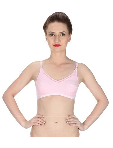 Glus Women's Full Cup Everyday Bra  Non Wire Bra, Color-Baby Pink