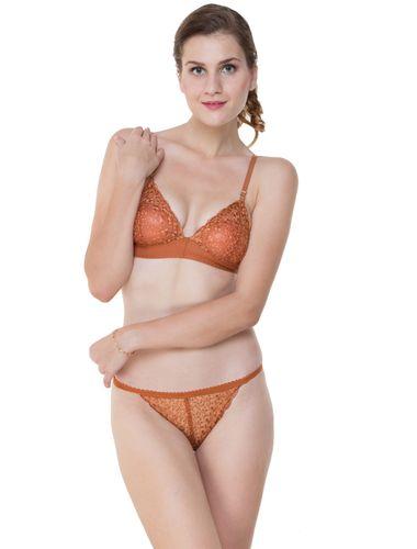Glus Bridal Net  Unlined Non Padded Non Wire Bra & String Bikini Panty Set, Color - Rust Brown