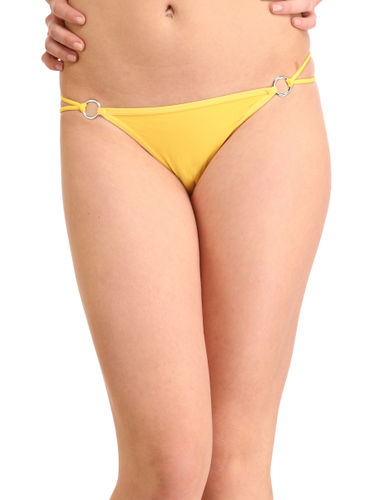 Solid Silver  Buckle  Thong , Color- Yellow
