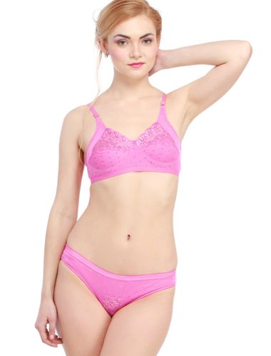 Glus Lady Care Bra And Bikini Set , Color- Pink