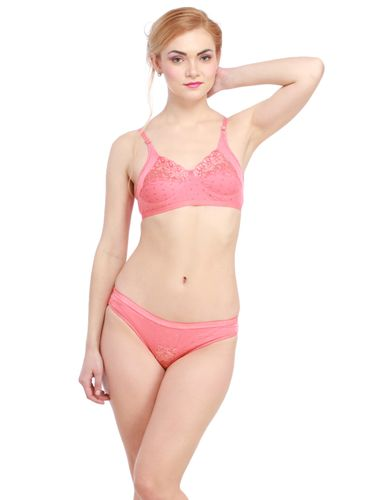 Glus Lady Care Bra And Bikini Set , Color- Peach