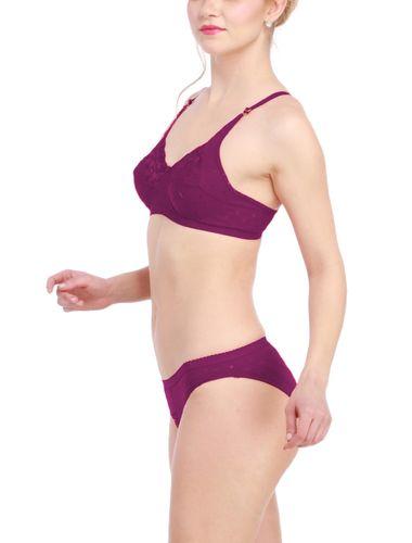 Glus Lady Care Bra And Bikini Set , Color- Purple