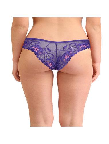 Blue Self Floral See through Net Bikini Panty