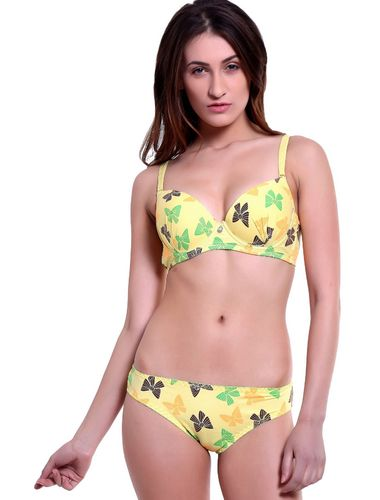 YELLOW Love Butterfly Cotton Underwire non Pushup T-Shirt Bra & Bikini Panty Set