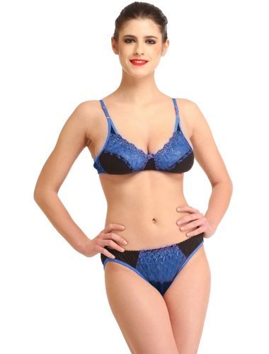 Glus Women's Net Laced Bridal Bra And Bikini Cut Panty Set, Color- Blue