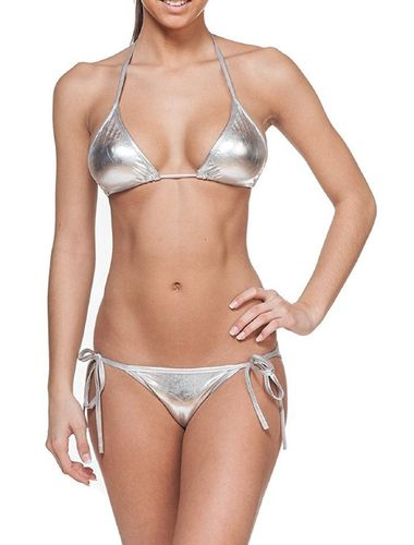 Glus Leather finish satin Halter Bikini Honeymoon /Bridal /Beach Wear /Sleepwear Lingerie Set , Color-  SILVER.