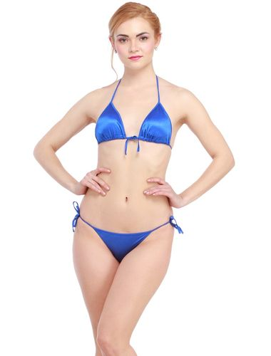 Glus Satin Halter Bikini Honeymoon /Bridal /Beach Wear /Sleepwear Lingerie Set , Color- Blue