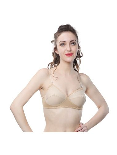Transparent Detachable straps Non wire Non Padded Everyday Bra , Color- Nude-Skin