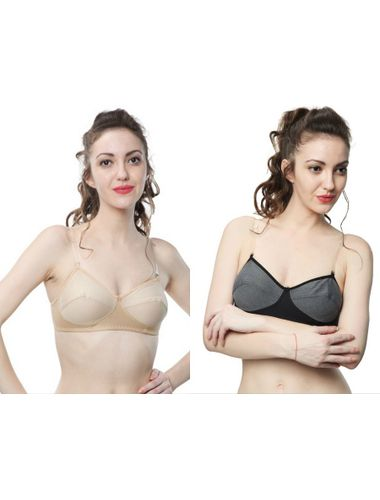 Transparent Detachable straps Non wire Non Padded Everyday Bra , Pack Of 2, Color-Nude Skin & Black