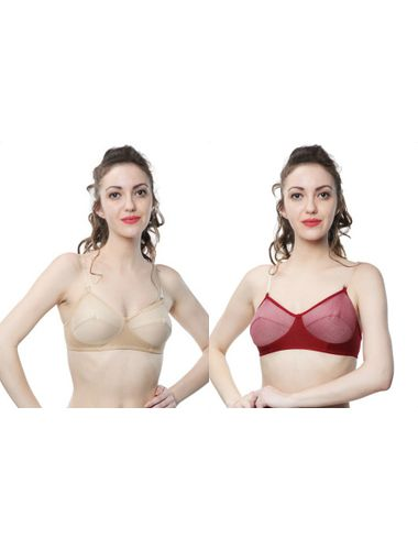 Transparent Detachable straps Non wire Non Padded Everyday Bra , Pack Of 2, Color-Nude Skin & Maroon