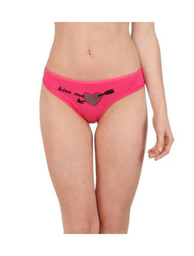 Glus KISS ME Tanga Panty for Women, Color - Pink.