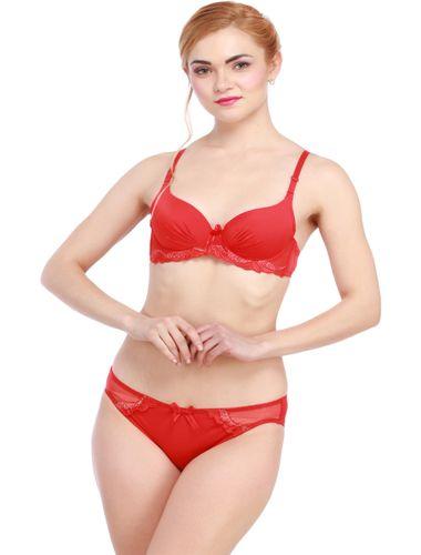 Glus Seamless Push Up Underwire Bra And Bikini Set , Color  -  Red