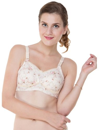 Glus Soft Padded Buttoned Wire Free Feeding Bra , Color  - Nude Skin