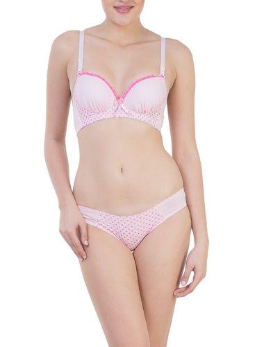 Glus Pink Sweet Little Heart Padded Push Up Non Wire Bra & Bikini Set