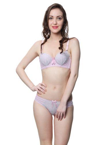 Glus Love Me Polka Stripes Push Up Underwire Bra & Bikini Cut Panty , Color - Peach Pink
