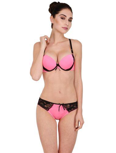 Wicked PINK Hot Balconette Pushup Bra & Stainless Bikini Panty Set
