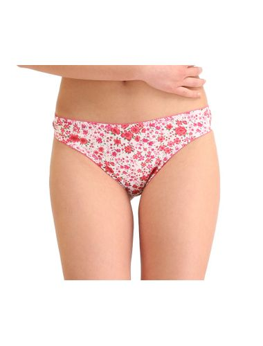 Glus Pompon Satin Flowers Thong , Color - Magenta